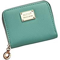 Tinksky Women Girl Zipper Wallet PU Leather Mini Purse for Cards Keys Coins Small Change Holding (Light Green)
