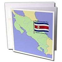 777imagesフラグとマップ–北アメリカ–フラグとマップコスタリカのwith共和国コスタリカの印刷の両方で英語とスペイン語。–グリーティングカード Set of 6 Greeting Cards