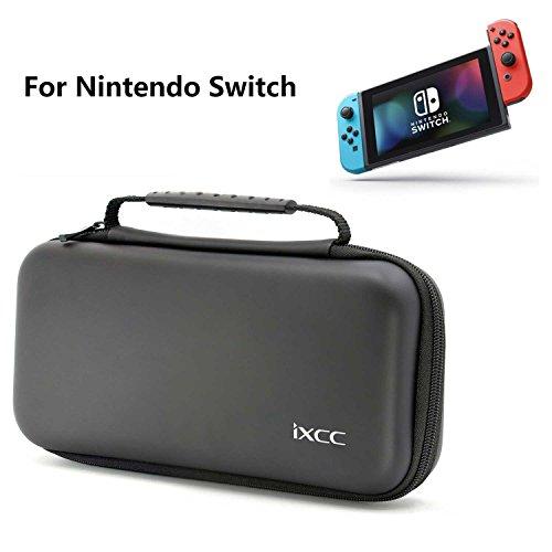 Nintendo Switch 任天堂 スイッチ ニンテンドースイッチ 専用 iXCC ハンドストラップ付 キャリングケース EVA ポーチ ビデオゲーム コンソール用 本体収納バッグ ブラック 24ケ月保証