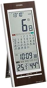 CITIZEN ( シチズン ) 電波 置き ・ 掛け時計 パルデジットカレンダー 142 マンスリー カレンダー 高精度 温度 ・ 湿度 計付き 茶 8RZ142-023