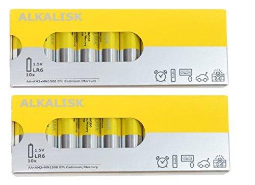 IKEA ALKALISKアルカリ単三電池2パック各10合計20Pieces