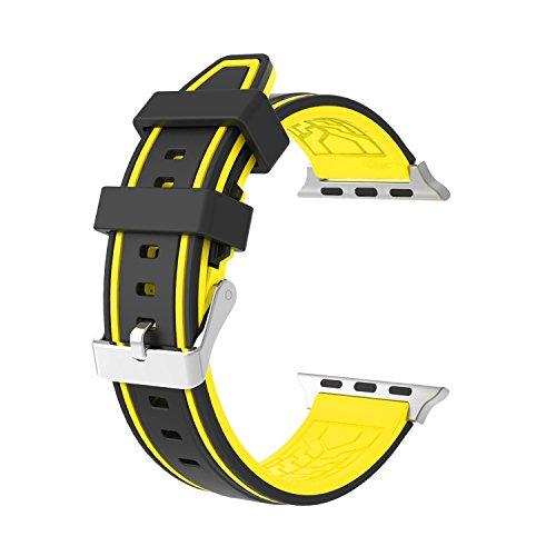 Apple Watch バンド/Apple Watch 2バンド,Wearlizer apple watch スポーツバンド Apple Watch Series 2 / Apple Watch Series 1 対応 シリコン 38mm ブラック+黄色