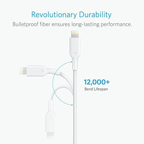 Anker PowerLine II ライトニングUSBケーブル【Apple MFi認証取得 / 超高耐久】iPhone / iPad / iPod各種対応 0.9m ホワイト A8432521