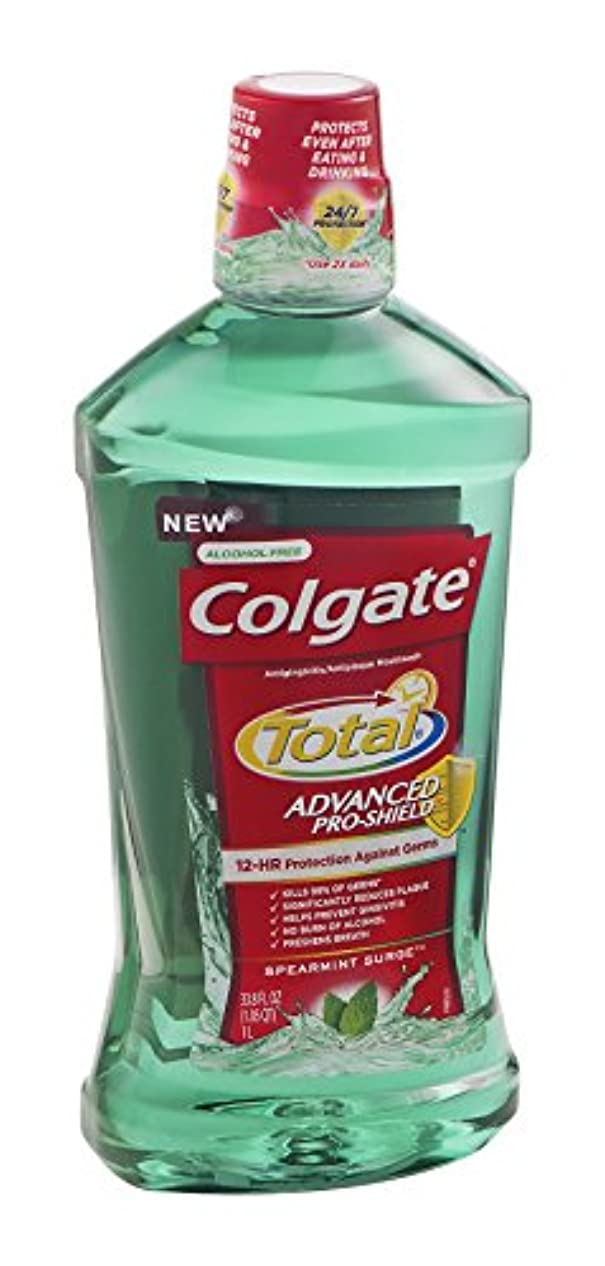 はぁ寄り添う採用するColgate 総高度なプロシールドうがい薬、スペアミントは33.8オズサージ