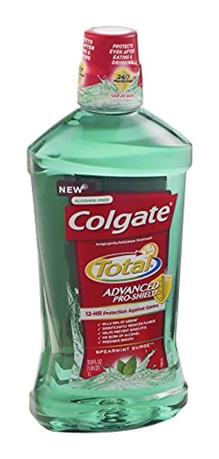 技術ふりをする雄弁Colgate 総高度なプロシールドうがい薬、スペアミントは33.8オズサージ