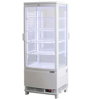 レマコム 4面ガラス冷蔵ショーケース(LED仕様) 前後両面開きタイプ 98リットル 幅425×奥行428×高さ1087(mm) RCS-4G98WL