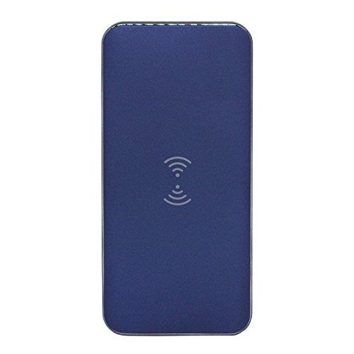 Qi規格 充電器 ワイヤレス充電 パワーバンク 8000mAh ネイビー iphoneX iphone8 iphone8Plus対応 充電 ワイヤレスチャージャー iphone android 汎用 スマートフォン適応 置くだけで簡単に充電! QC3.0急速充電ポート搭載 PSE申請済
