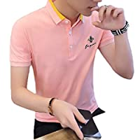 YAXINHE メンズレギュラーフィット半袖刺繍ユニフォームピケポロシャツ Pink L