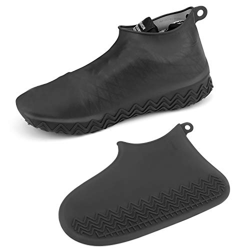 [AOGUERBE] シューズカバー 防水 雨 雪 泥除け アウトドア防水靴カバー シリコン 滑り止め 梅雨対策 シリコンシューカバー 通勤 通学 自転車 登山 持ち運びが簡単 男女兼用 子供も適用 (S, ブラック)