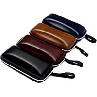 Heyuni. Square cortex Eyeglass Case, Protective Clamshell Holder for Glasses and Sunglasses With Zipper(Random Color)