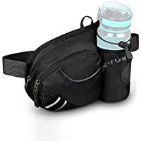 Water Repellent Bum Bag Waist Fanny Pack with Bottle Holder Black