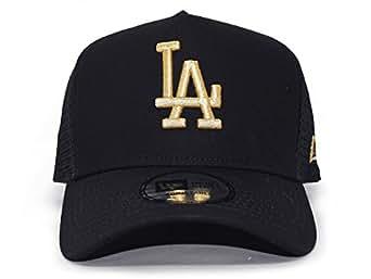 (ニューエラ) トラッカーメッシュキャップ【MLB D-FRAME TRUCKER MESH CAP】 NEW ERA (LA ドジャース(ブラック×ゴールド))