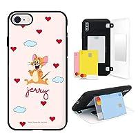 トムとジェリー iPhone 7/8, アイフォン 7/8 ケース スマホケース 2種類 カードバンパー 2枚のカード収納 ミラー付き スマホスタンド 2重構造 韓国 かわいい