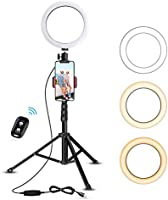 """8"""" Selfie Ring Light with Tripod Stand & Cell Phone Holder for Live Stream/Makeup, UBeesize Mini Led Camera Ringlight..."""