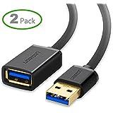 Ugreen USB 3.0 延長ケーブル タイプAオス- タイプAメス 金メッキ ブラック 2m 2 Pack