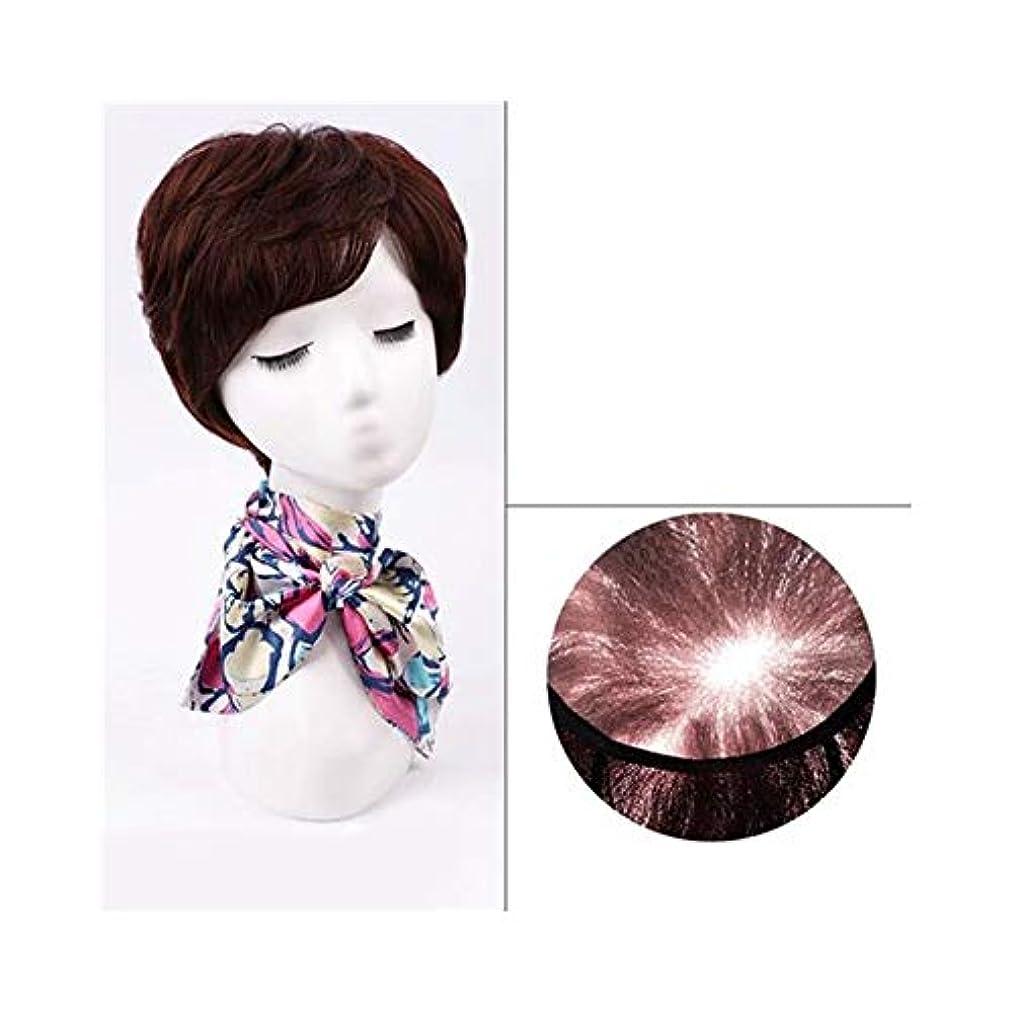 苛性漁師古いYOUQIU 女性のかつらのために前髪でナチュラルヘアエクステンションショートレアルヘアウィッグ (色 : Natural black)