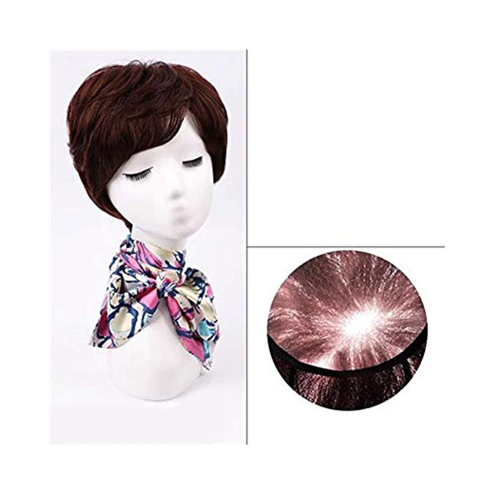 もう一度矢ダウンタウンYOUQIU 女性のかつらのために前髪でナチュラルヘアエクステンションショートレアルヘアウィッグ (色 : Natural black)