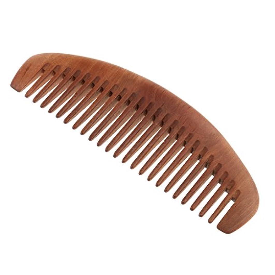 負担身元伸ばす木製櫛 アンチスタティック 頭皮マッサージ 桃の木 歯 ヘアケア 櫛マッサージ 静電気防止 全2種類 - ワイド歯