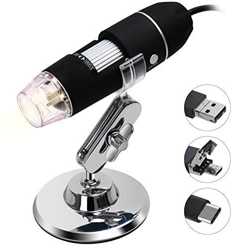 デジタル顕微鏡 電子顕微鏡 マイクロスコープ 高解像度 最大倍率1000X カメラ USB Type-C Micro USB接続 PC Androidスマホ対応