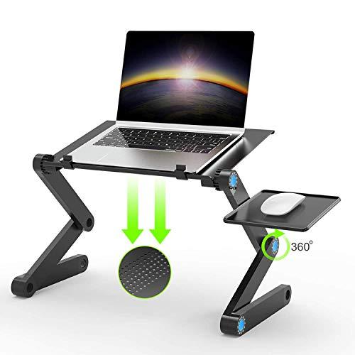 折り畳み式コンピュータテーブル, JUSTDODO 調節可能なテーブルラップトップコンピュータデスクマウスパッド付きポータブルベッドトレイ