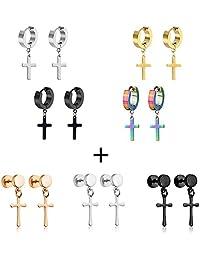 NASAMA Men's Womens Stainless Steel Hoop Huggie Earrings Cross Drop Dangle Hinged Hoop Earrings