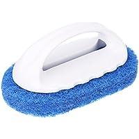 バスルームクリーニング スポンジブラシ 洗浄クレンジングツール ボウル台所用 タイル柄 ブルー