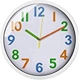Colorful Kids Wall Clock 12 inch Silent Non Ticking Quality Quartz Battery Operated Wall Clocks, Easy to Read,Large Decorativ