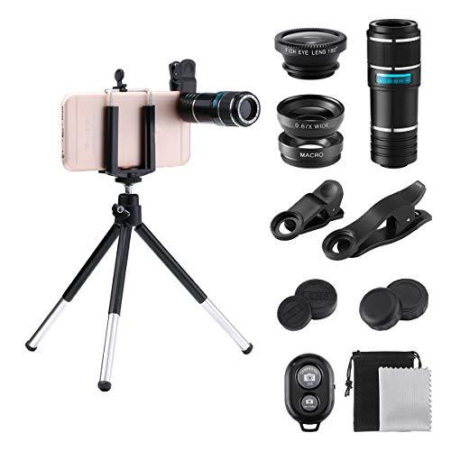 スマホ用カメラレンズ GLISTENY HD 携帯電話用レンズ (180°魚眼/0.67X広角/12X望遠/マクロ) Bluetooth リモートシャッター iphone/Android多機種対応 tripod ミニ三脚スタンド付き