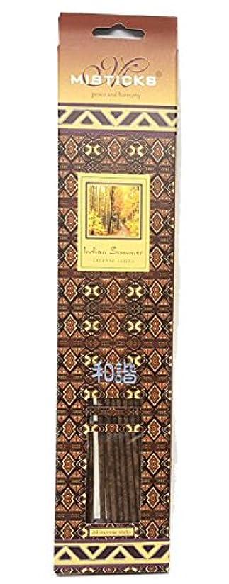 Misticks インドの夏のインセンススティック、長持ち、自然な香り、スパイシーなエッセンシャルオイルブレンド入り手作りウッドスティック、20本入り