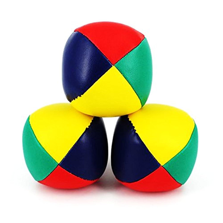 ジャグリング ボール 3個 収納専用袋セット 大道芸 手品グッズ (中(65ミリ), マルチカラー)