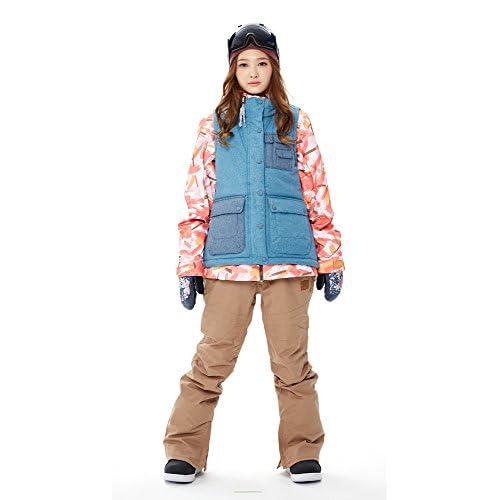 スノーボードウェア レディース ジャケット ベスト取り外し スノボ ウェア 防寒 スキー ウェア スノボー ウェア KELLAN ケラン ASHLEY アシュレイ ジャケット (PAINT (ピンクペイント/水色), M)