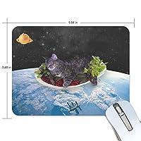 マウスパッド 猫 宇宙 疲労低減 ゲーミングマウスパッド 9 X 25 厚い 耐久性が良い 滑り止めゴム底 滑りやすい表面