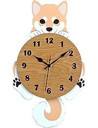 柴犬 振り子時計 (正面/茶) G-1182N