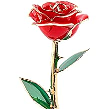 Golden Rose, Dipped Rose Love Forever 24K Gold Foil Trim Red Rose Best Gift for Valentine'S Day Birthday Mother'S Day and Anniversary