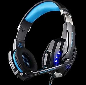 ゲーミングヘッドセット【高音質】 KOTION EACH ゲーミング ヘッドホン 3.5mmコネクタ ゲーム用 高集音性マイク付き PS4など用 ブルー