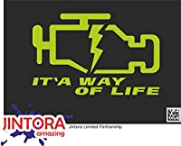 JINTORA ステッカー/カーステッカー - check engine light is a way of life - チェックエンジンライトは人生の方法です - 153x99 mm - JDM/Die cut - 車/ウィンドウ/ラップトップ/ウィンドウ - 石灰