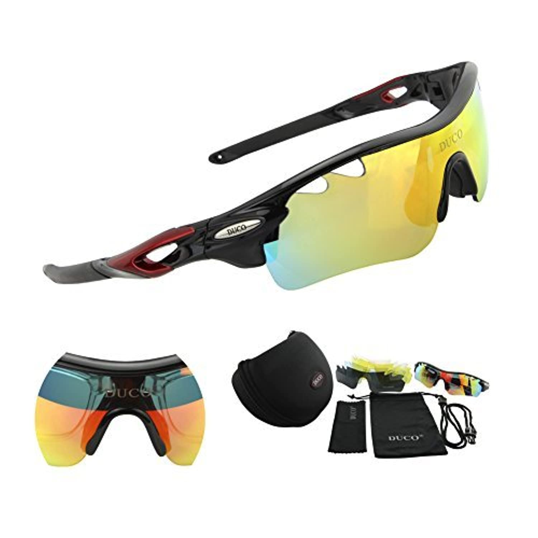 Ducoスポーツサングラス 5枚専用交換レンズ付き 紫外線カット 軽量 ユニセックス 自転車 0025