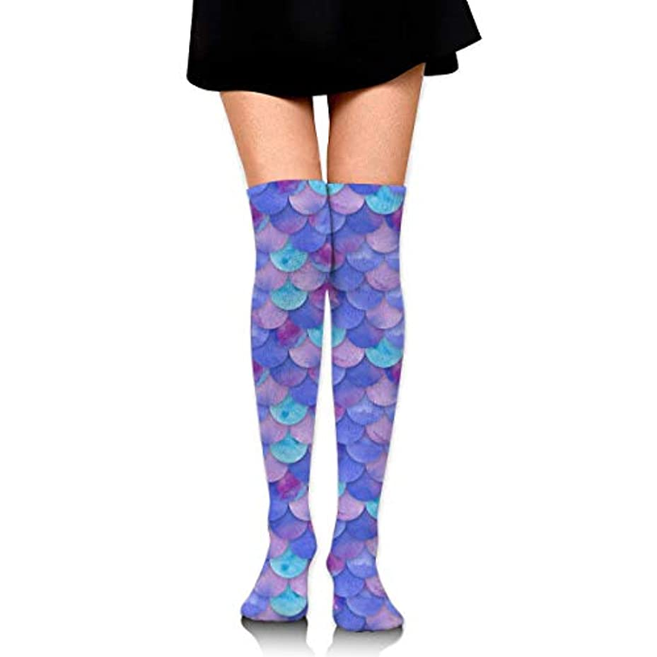 スパークはっきりしない薬局MKLOS 通気性 圧縮ソックス Breathable Extra Long Cotton Mid Thigh High Mermaid Fish Scales Purple Exotic Psychedelic Print...