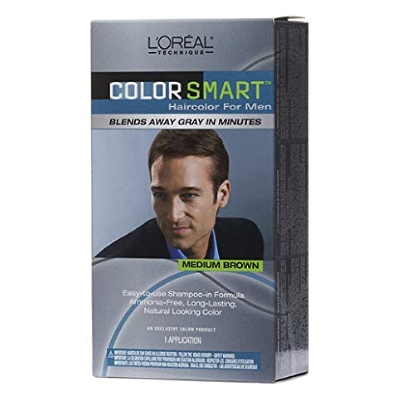 一次デモンストレーションブローホールL'Oreal Technique - Color Smart for Men - Medium Brown KIT