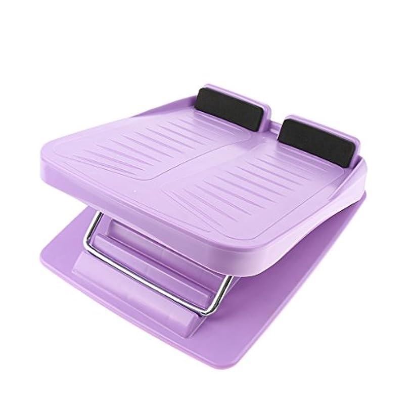 読みやすい浮浪者スカウト3色 スラントボード アンチスリップ 調整可能 カーフストレッチ 斜面ボード ウェッジストレッチャー - 紫の