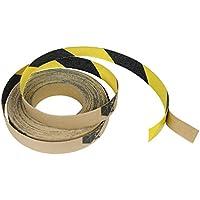 滑り止めトラクションテープ ブラック イエロー ロール 安全 滑り止め 粘着 シリコン カーバイド 粘着性 グリップ 安全グリット 1インチ x 10インチ 20インチ 30フィート