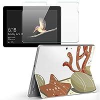 Surface go 専用スキンシール ガラスフィルム セット サーフェス go カバー ケース フィルム ステッカー アクセサリー 保護 その他 貝 砂浜 001361