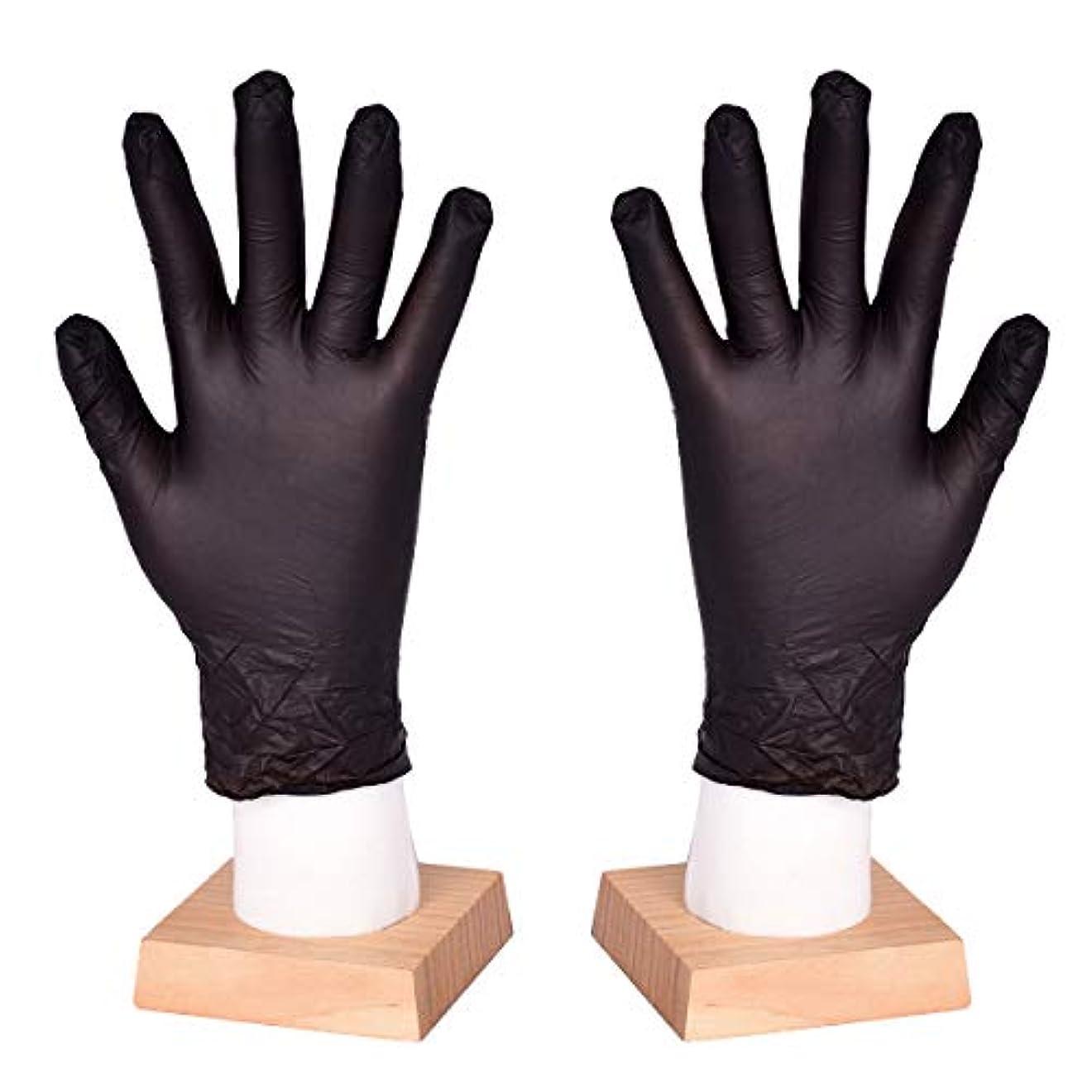 説明正確複雑な[FJTK]使い捨て手袋 滑りにくい 超弾性 多用途 黒 100枚入 (L)