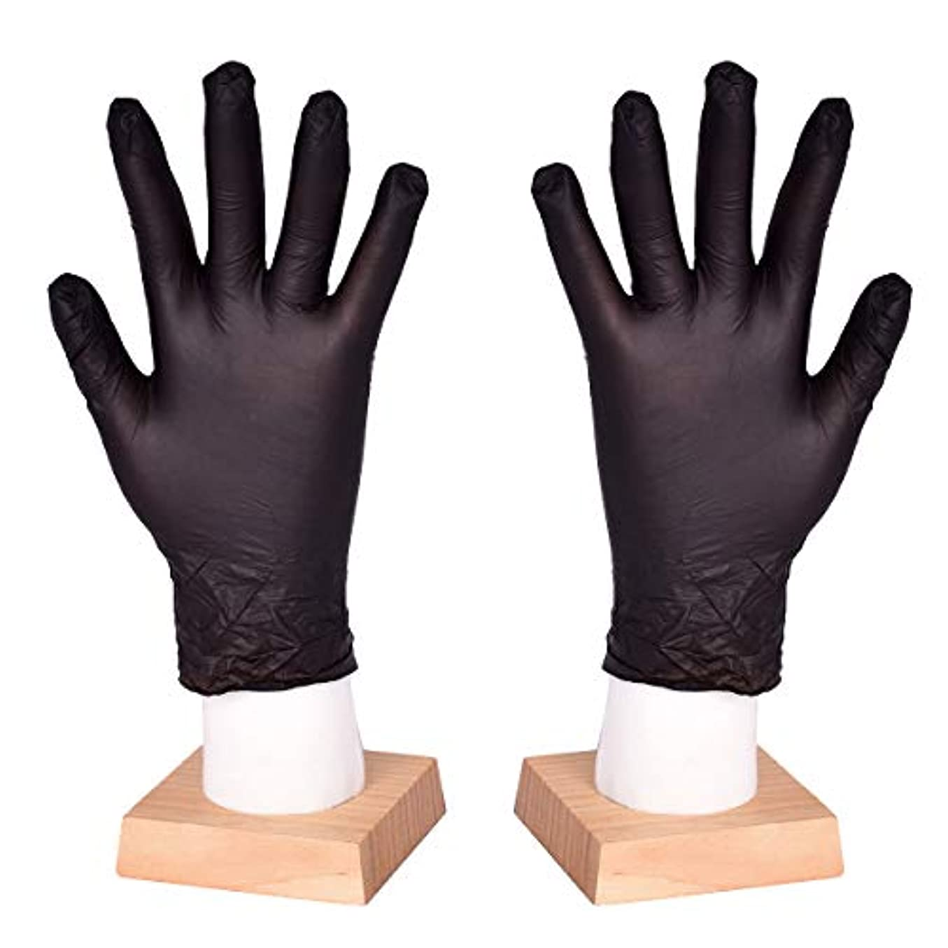 コピー脇にロッジ[FJTK]使い捨て手袋 滑りにくい 超弾性 多用途 黒 100枚入 (M)