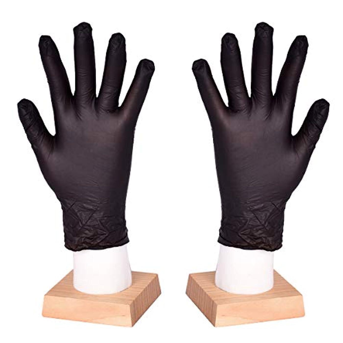 実現可能説明傑作[FJTK]使い捨て手袋 滑りにくい 超弾性 多用途 黒 100枚入 (L)