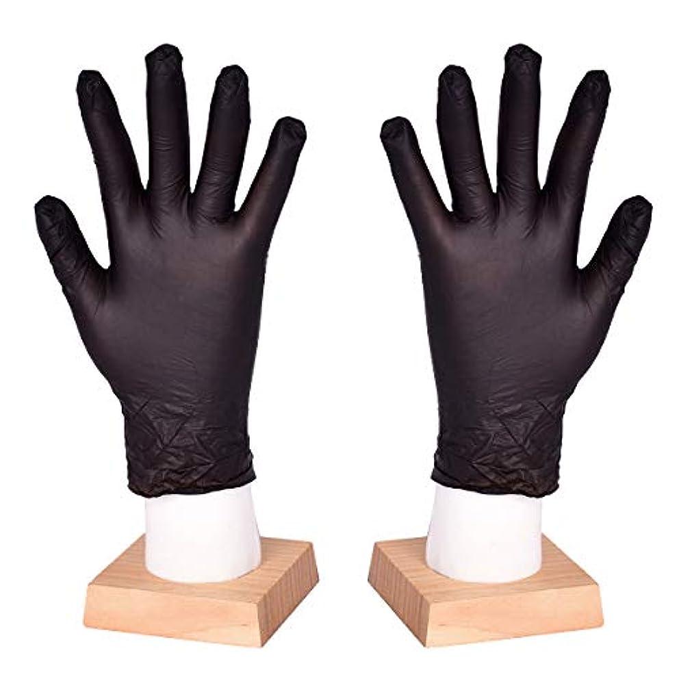 一族局ヒロイン[FJTK]使い捨て手袋 滑りにくい 超弾性 多用途 黒 100枚入 (M)
