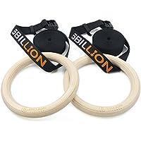 5BILLION 木製体操吊り輪 - オリンピック体操リング 調節可能な長いバックルのストラップ - 自宅のジム ・ フィットネスのためのトレーニング - あなたの筋肉のアップ、プルアップ ・ 筋力トレーニングに最適