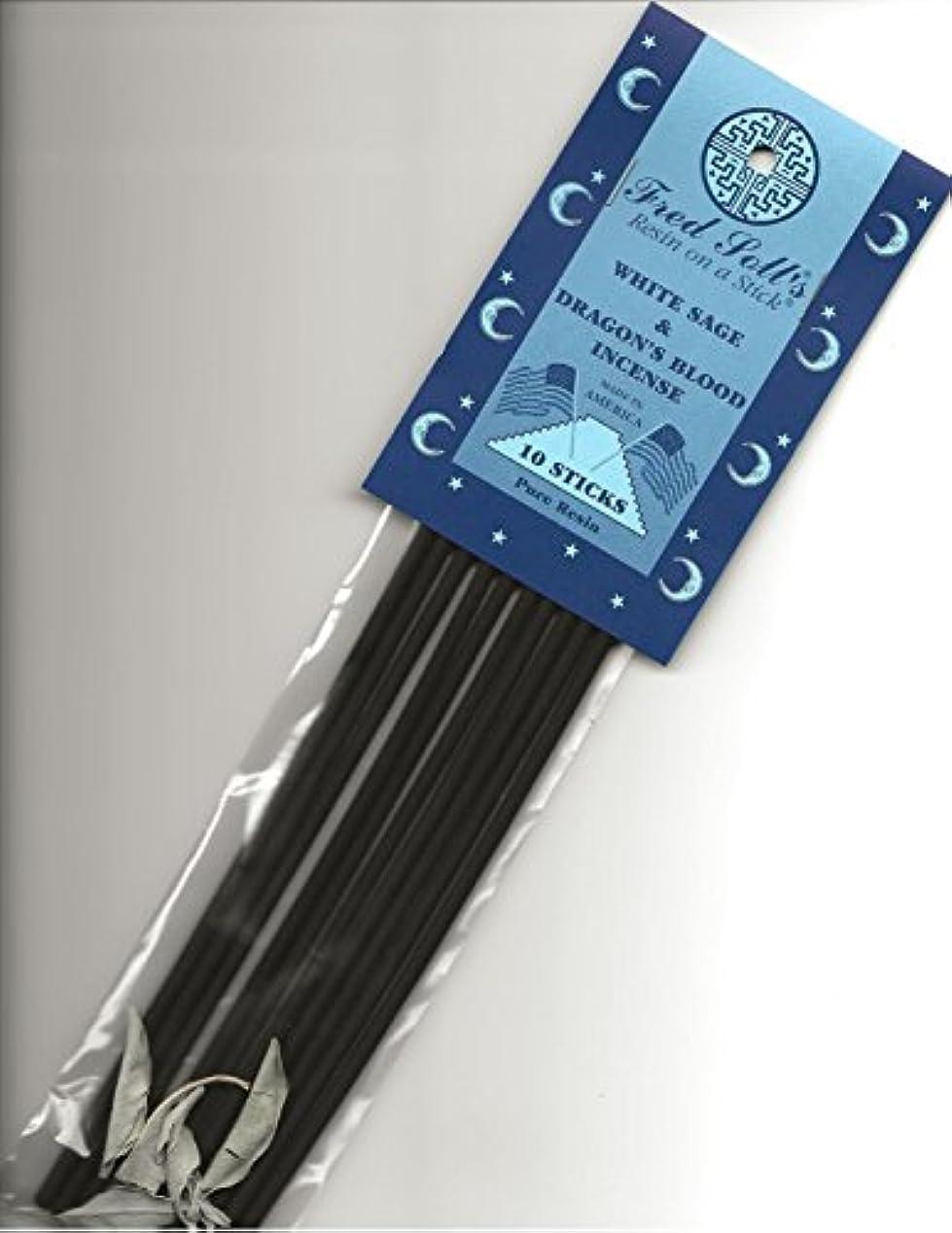 抹消すでにモーテルFRED SOLL'S 樹脂製インクオンザスティックホワイトセージ&ドラゴンブラッドインセンス 10 STICKS