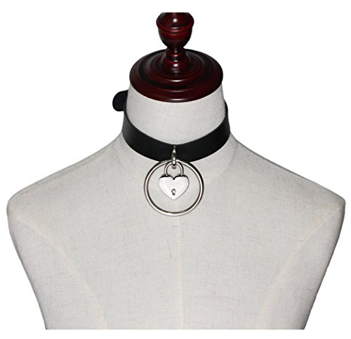 SevenAndEight® チョーカー ベルベット首輪 人間用 レディース メンズ PUレザー ハート 鎖骨 パンク系 長さ調整可能 ファッション アクセサリー (ブラック)