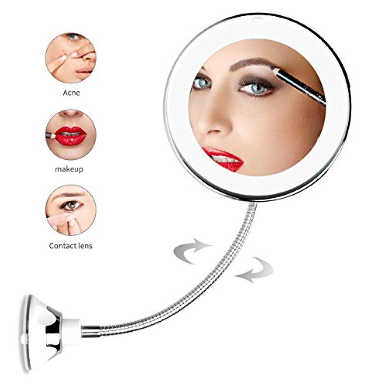 演じる神の幹化粧鏡 卓上 化粧ミラー 鏡 led付き 拡大鏡 5倍 明るさ調節可能 360°回転 強力な吸盤付き